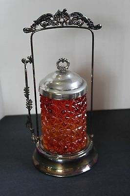 Vintage Button & Daisy Red Orange Glass Pickle Castor In Ornate Stand w/Tongs