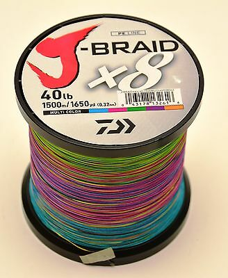 Daiwa J-Braid Multi Colour Braid 1500 metres  40lb Test   JBraid   J Braid