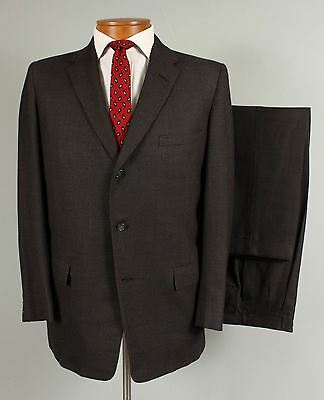 Vtg 50s-60s 40R Mens Brown 3 Button Wool Suit Pleated Hollywood Pants 507