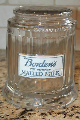 Bordens The Improved Malted Milk Jar Canister with Porcelain Label