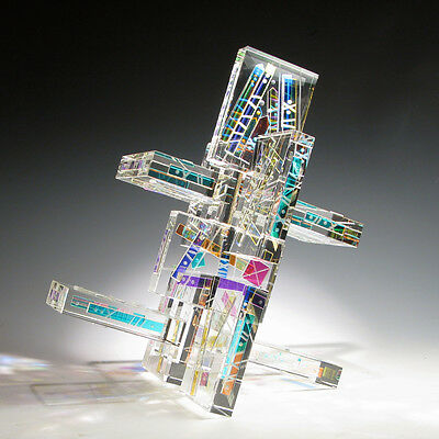 "Exciting Optic Crystal Dichroic Glass Sculpture ""JACOB'S LADDER""  by Ray Lapsys"