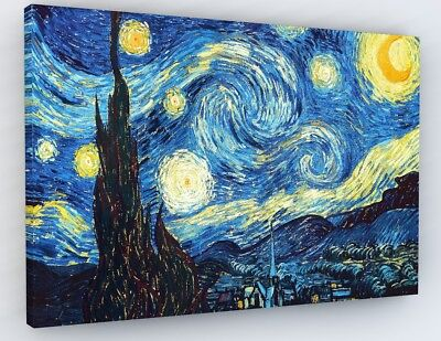 VINCENT VAN GOGH STARRY NIGHT CANVAS PICTURE PRINT WALL ART Various Sizes #A38