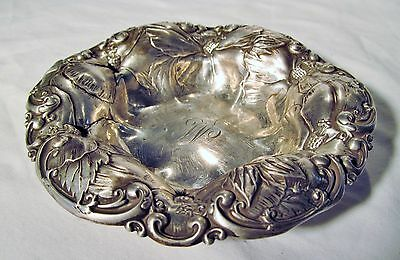 Ornate Antique Whiting Sterling Silver Repousse Poppy Floral Nut Dish Candy Bowl