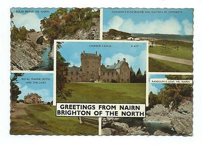 Nairn Dulsie Bridge Cawdor Castle Harvey Barton Multiview Postcard c.1960's
