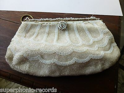 Vintage Art Deco Hand Beaded White Evening Purse Clutch France French
