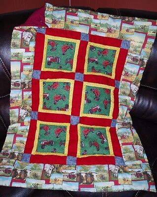 Handmade Patchwork Red Tractor Farm Baby Quilt Cotton Blanket Unique NEW