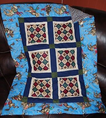 Handmade Patchwork Rodeo Horses Blue Baby Quilt Cotton Blanket Unique NEW