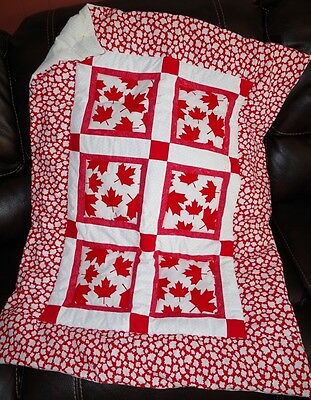 Handmade Patchwork Canada Maple Leaf Red White Baby Quilt Cotton Blanket Unique