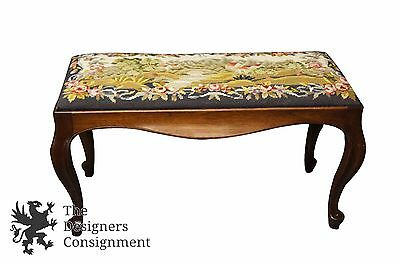 Vintage Queen Anne Style Mahogany Piano Bench Seat Embroidered Landscape Stool