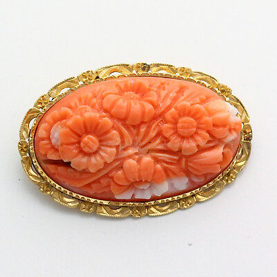 Antique  18K Yellow Gold Frame Floral Carved Coral Pin