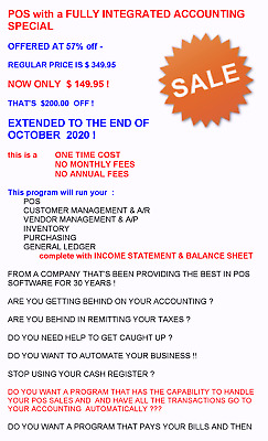POINT OF SALE with INTEGRATED ACCOUNTING MANAGEMENT SYSTEM SOFTWARE  - 50% OFF !
