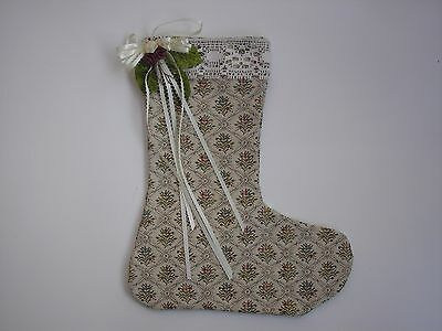 Christmas Stocking - Tapestry Design with Trim Top Cream & Burgundy