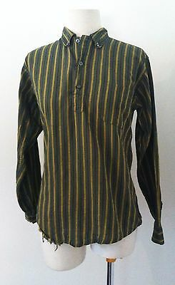 Boy's Vintage Shirt Tex Son Green Striped Western Shirt