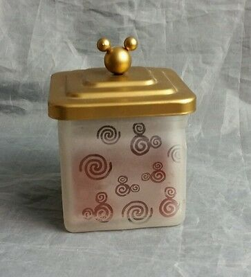 "Disney glass frosted  candle with gold lid EUC never lit 4"" H"