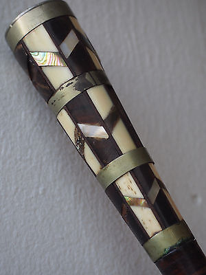 Antique MOP Bone Horn Mosaic Inlay Metal Brass Leather Wood Walking Stick Cane