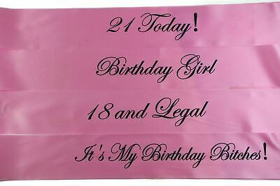 BIRTHDAY SASH - LIGHT PINK & BLACK - 18th 21st - 18 and Legal - Girl - Bitches