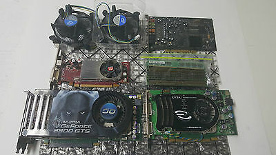Lot of Desktop Parts - Graphics Cards DDR2 Ram Sticks Intel Heat Sinks + Sound C