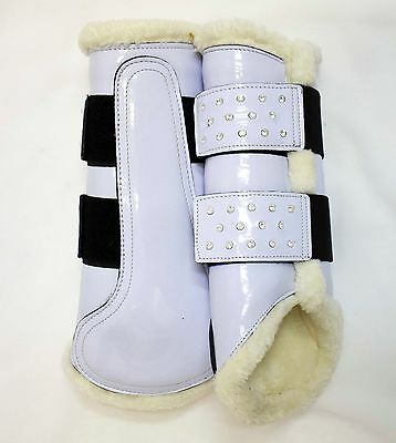 Delfina WHITE with Crystals Patent Leather Fleece Horse Splint Boots Dressage
