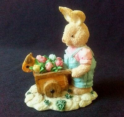 Easter Spring Rabbit Wheelbarrow and Flower Figurine 3 inches tall