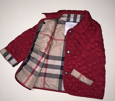 New Authentic Burberry Red Check Kids Infant Baby Boy Girl Coat Jacket 6M 9M