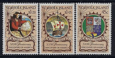1992 NORFOLK ISLAND DISCOVERY OF AMERICA 500th ANNIVERSARY SET OF 3 MINT MNH