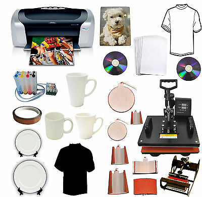 8in1 Heat Press,Epson Printer,CISS,Sublimation Ink Mugs,Hat,Plate,T-shirts Combo
