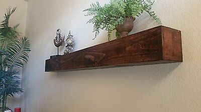 "Fireplace mantel, Handmade, solid wood, floating shelf, red mahogany,  60"" long"