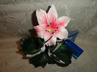 "Hummingbirds Lily Figurine LE World of Wonders Birds Nature 6"" x 6"" x 3-1/2"" W"