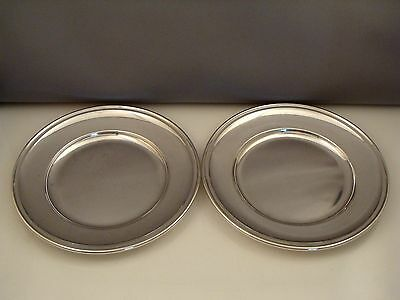 Antique Gorham 925 Sterling Silver Set Of Two Plates Useful Trays