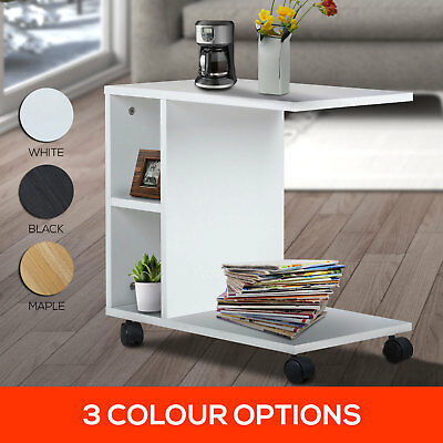 White Black Maple Tier Coffee Side Table Sofa Magazine Bed Stand Wheels Casters