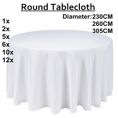Tablecloth Round Table Cloth Wedding Party Banquet Event Decor White 3 Size