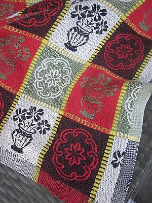 vintage retro woven cotton BLANKET, THROW, BED COVER, TABLECLOTH 175 x 220cm