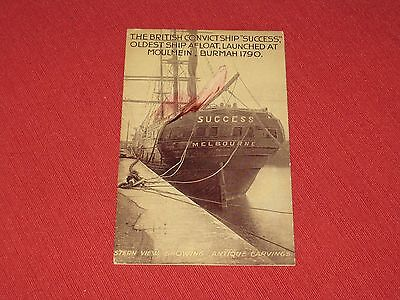"1912 British Convict Ship ""Success"" Stern View  Postcard Posted VG"