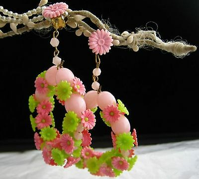 Genuine Vintage 60's seventies plastic Floreal pendant clip earrings pink green