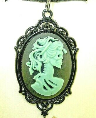 "New  Extra Large Antique-look Mirabelle SKELETAL Cameo Pendant 18"" -20"" Necklace"