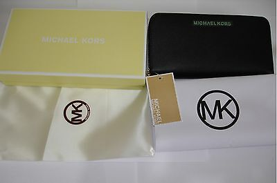 New With Tag Michael Kors Zip Around Black Purse Wallet - Boxed