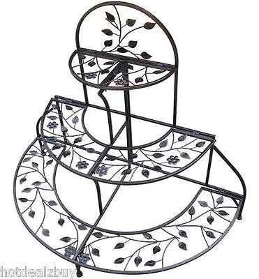 3 Tier Metal Plant Stand Folding Iron Planter Holder Flower Pot Shelf Rack Decor