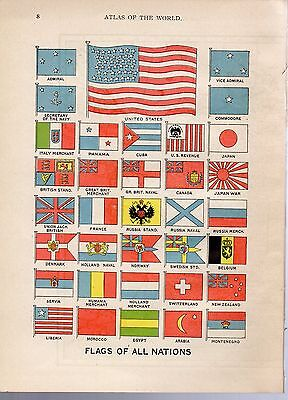 1908 two ORIGINAL MAP Flags of all Nations American Egypt Hammond ATLAS