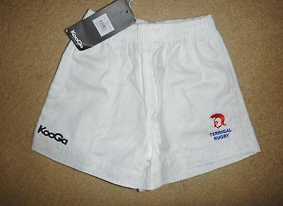 NWT K16 / 28 Kooga TERRIGAL TROJANS RUFC Rugby Union Shorts Heavy White Cotton