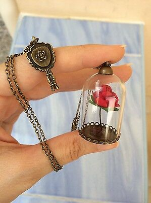 Disney Belle Princess Necklace from Beauty and The Beast. Rose Charm Theme.