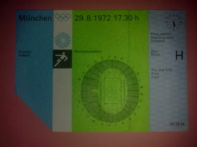 Ticket Olympic Games MÜNCHEN 1972 - FOOTBALL 29.08.1972 Hungary - Brasil Brazil