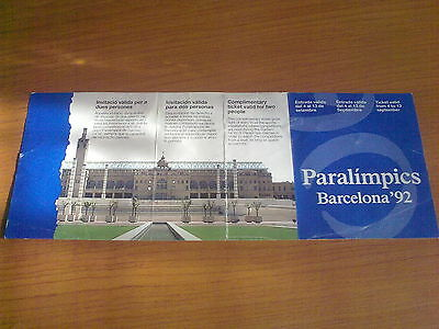 Ticket Pass Paralympic Games BARCELONA 1992 - Ticket for all Days