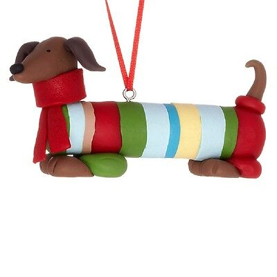 Red Dachshund Dog in Sweater Christmas Holiday Ornament