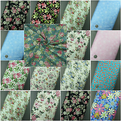 NEW 100% Cotton Material Floral, Flowers,Roses Print Fabric Crafting Dressmaking