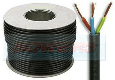 Black Rubber 3 Core Electrical Mains Cable 50 Metre 6 Amp 0.75Mm 24 Strand