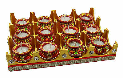 Set Of 12 Pieces Party Decoration Candle Wedding Unscented Light Matki Diya
