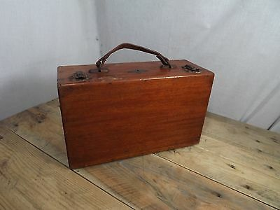 Vintage Small Wooden Suitcase With Leather Handle Artists Kit?