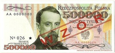 """POLAND 500 000 ZLOTYCH  Project collector note """"Henryk Sienkiewicz"""" UNC"""