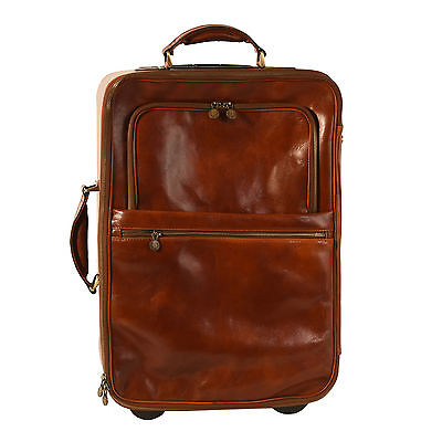 Pellevera borsa da viaggio in pelle trolley italian leather luggage bag duffle