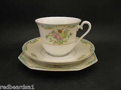 Noritake Floral Vintage China Trio Cup Saucer Plate c1940s Japan